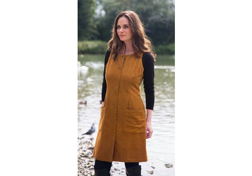JABA JABA Pinnafore Cord Dress in Ochre