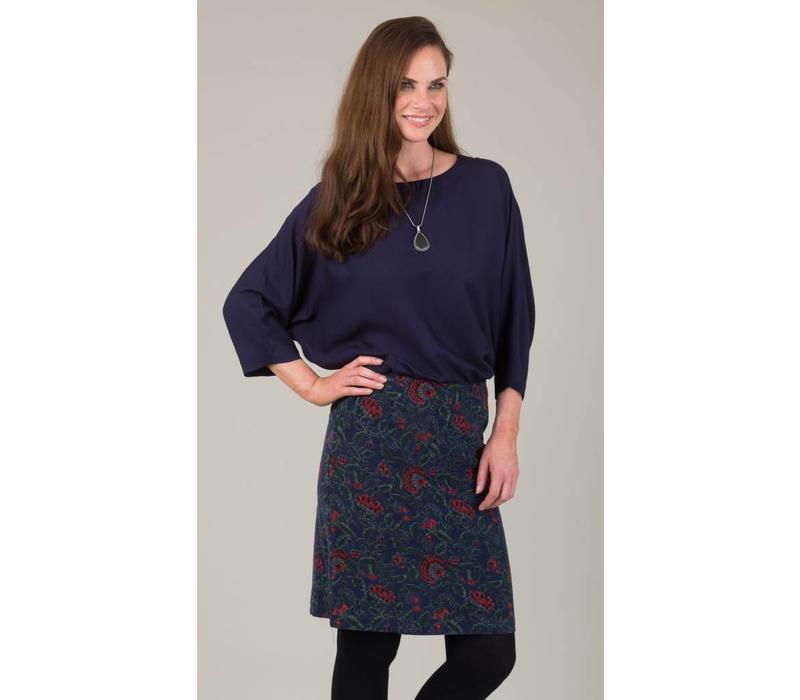 Jaba Lora Skirt in Navy Block Print