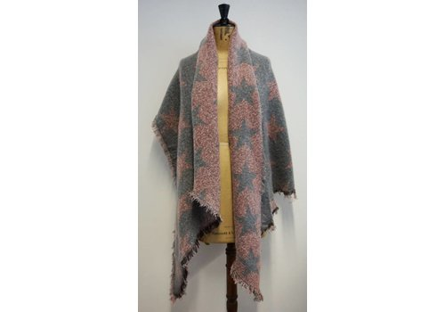 PURE Reversible Star Shawl in  Grey/Pink