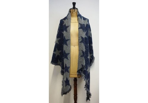 PURE Reversible Star Shawl in  Grey/Navy