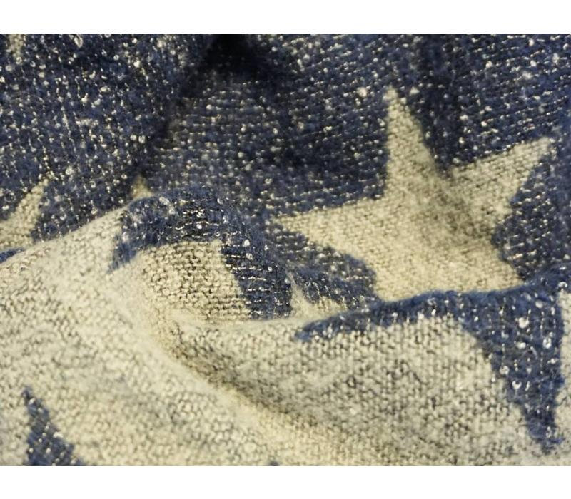 Reversible Star Shawl in Grey/Navy