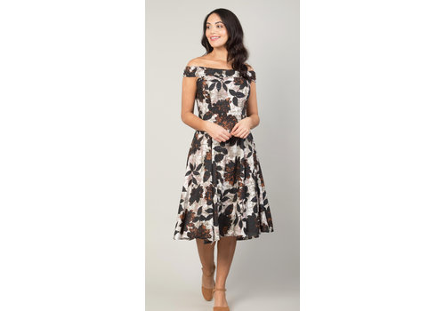 JABA Jaba Lydia Dress in Black Leaf