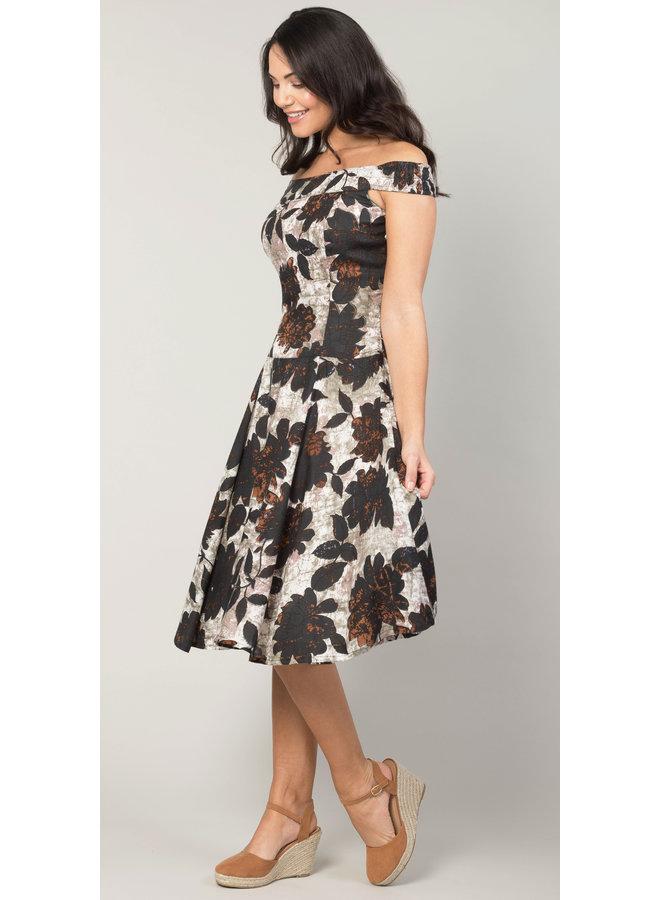 Jaba Lydia Dress in Black Leaf