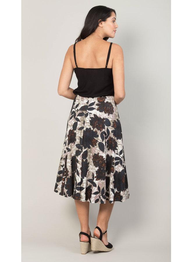 Jaba Florence Skirt in Black Leaf
