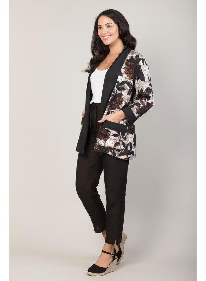 Jaba Short Kimono in Black Leaf