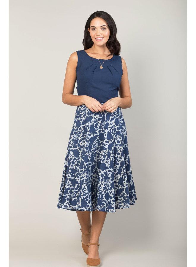Jaba Florence Skirt in Indigo Flower