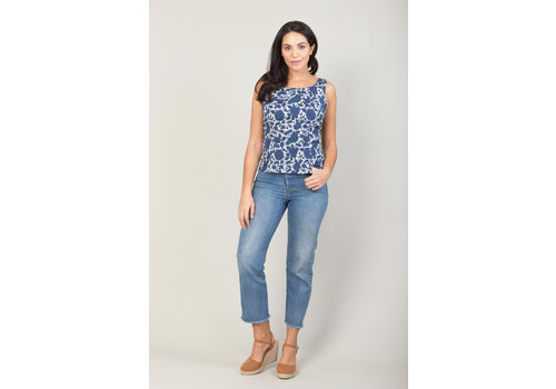 JABA Jaba Leila Top in Indigo Flower