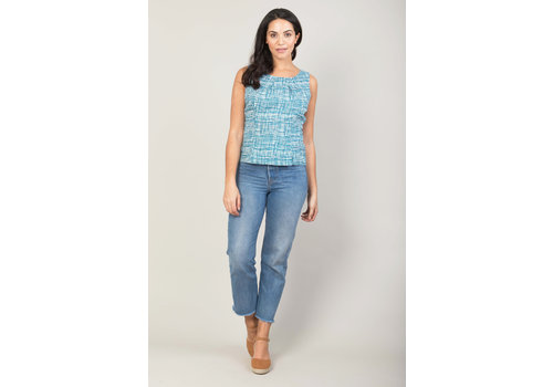 JABA Jaba Leila Top in Blue Grid