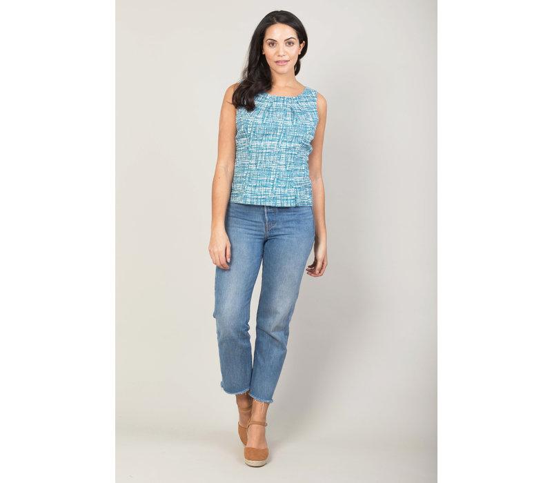 Jaba Leila Top in Blue Grid