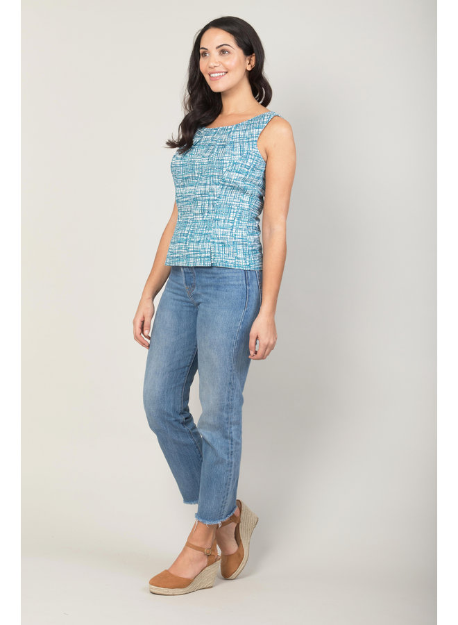 Jaba Leila Top in Blue Grid