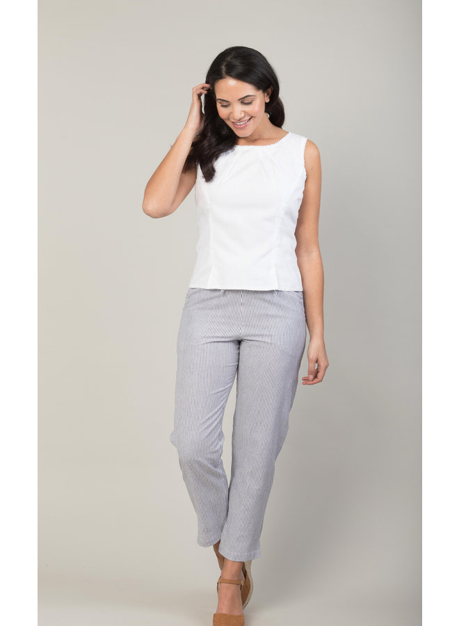 Jaba Juls Trousers in Chambray Stripe