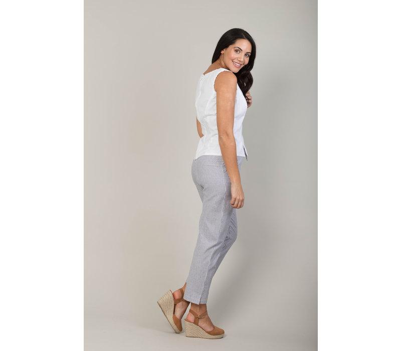 Jaba Juls Trousers in Chambray Stripe