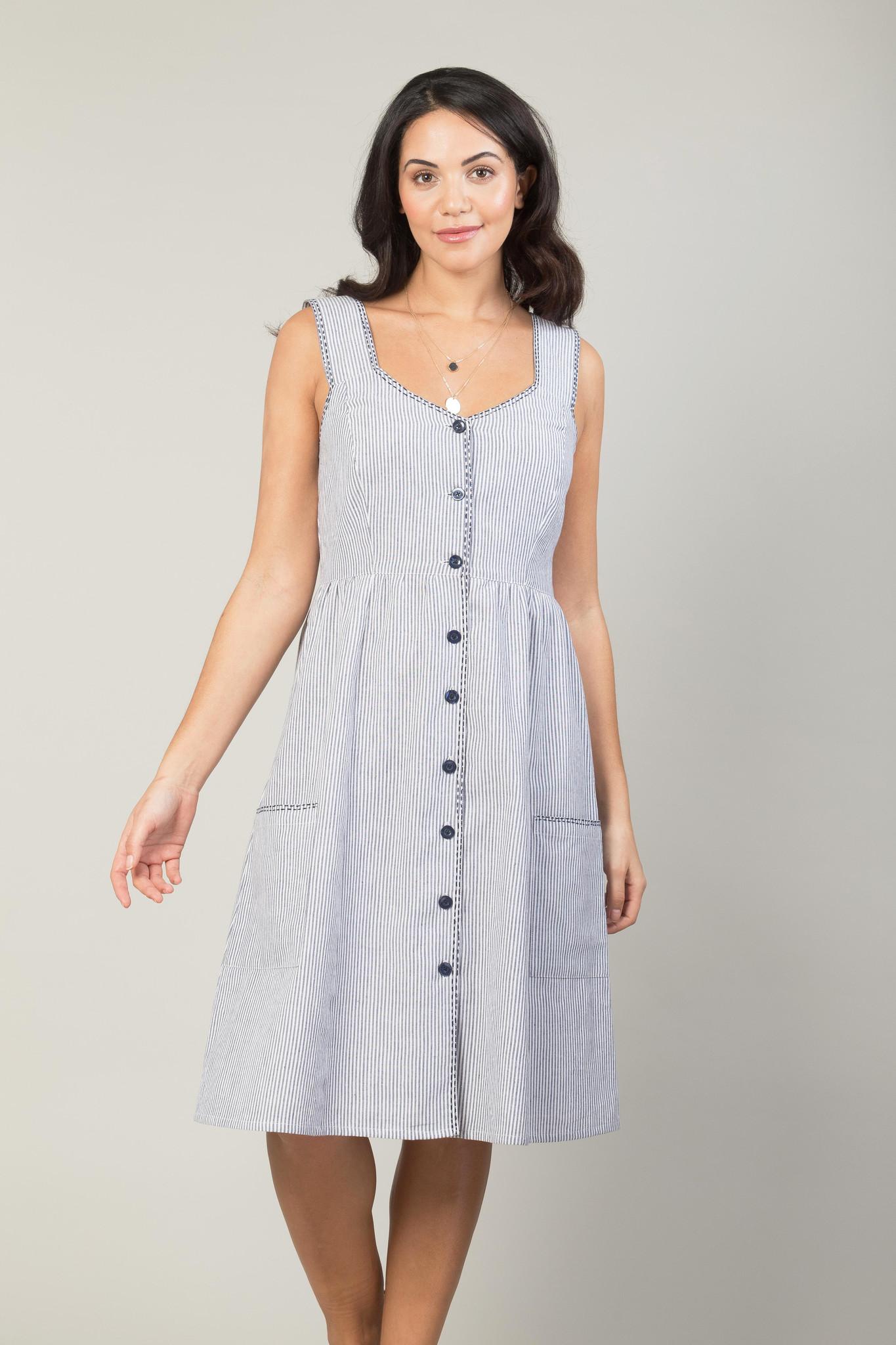 50a24779f833 Jaba Sun Dress - Chambray Stripe - JABA YARD
