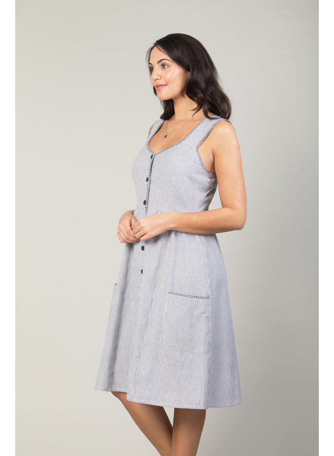 Jaba Sun Dress in Chambray Stripe