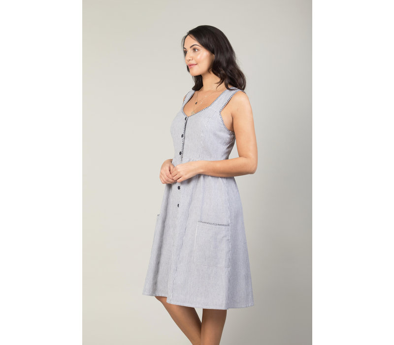 Jaba Sun Dress in Chambray Stripe