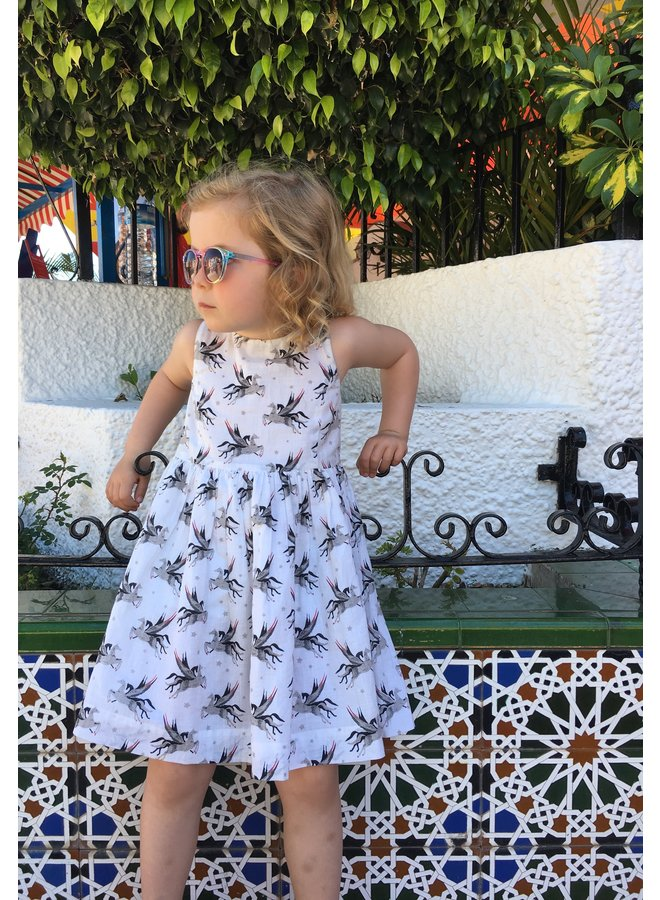 Jaba Kids Lauren Dress in White Unicorn