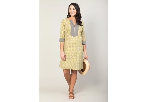 JABA Jaba Summer Kurta in Green Crackle Print