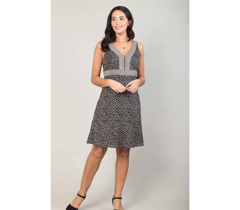 Jaba Kat Dress in Black Crackle Print