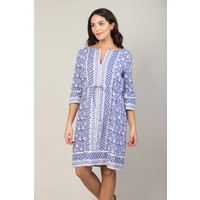 JABA Grace Dress in Tile Block Print