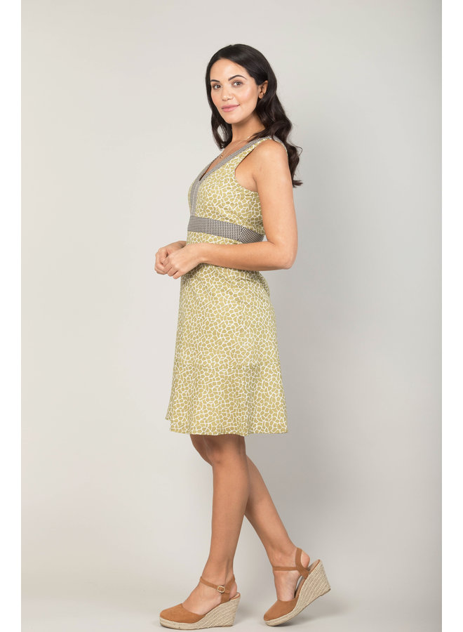 Jaba Kat Dress in Green Crackle Print