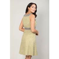 Jaba Kat Dress in Green Crackle Print