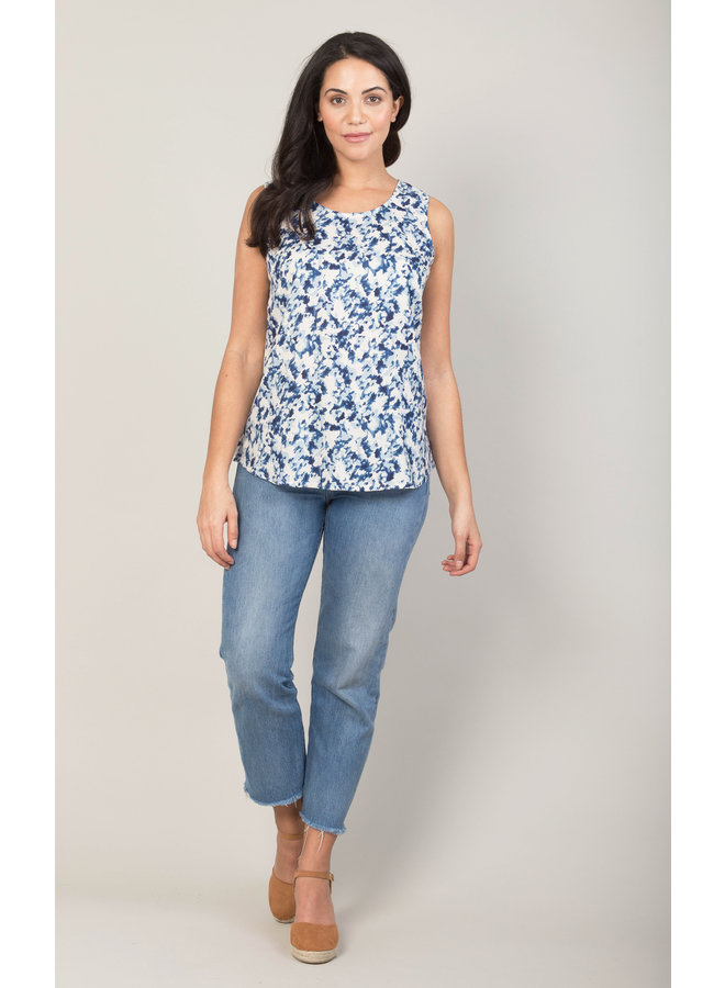 Jaba Tara Top in Blue Ink Spot