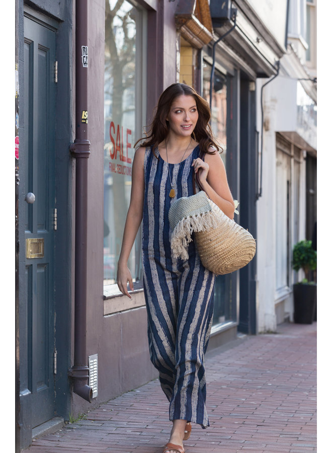 Jaba Maxi Dress in Blue/White Stripe