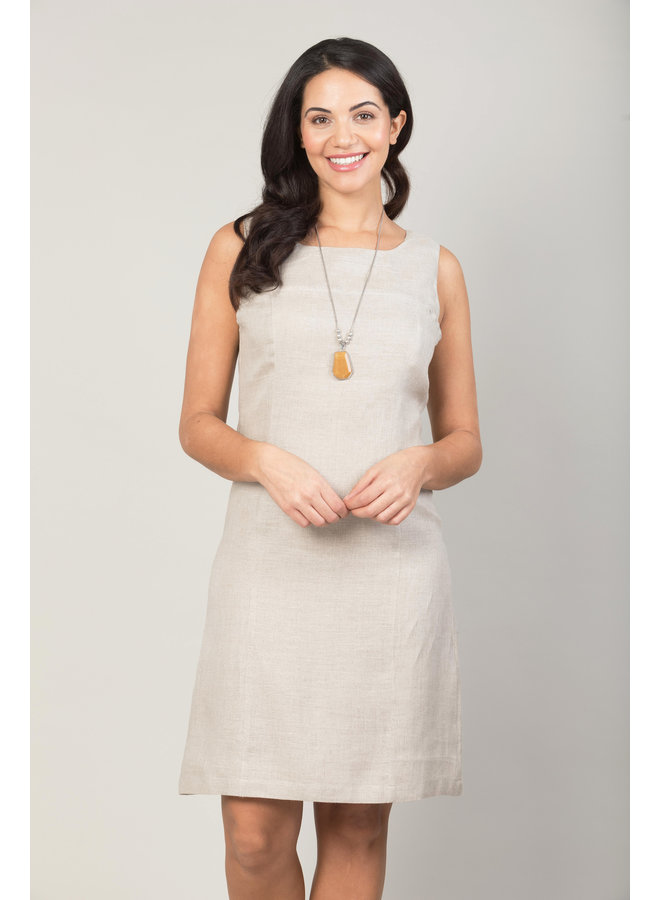 Jaba Nicole Linen Dress in Stone