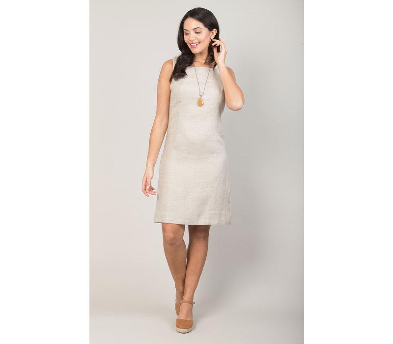 Jaba Nicole Linen Dress in Stone