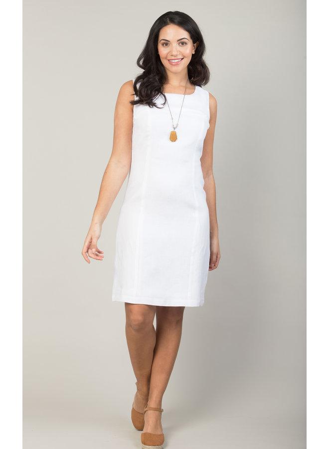 Jaba Nicole Linen Dress in White