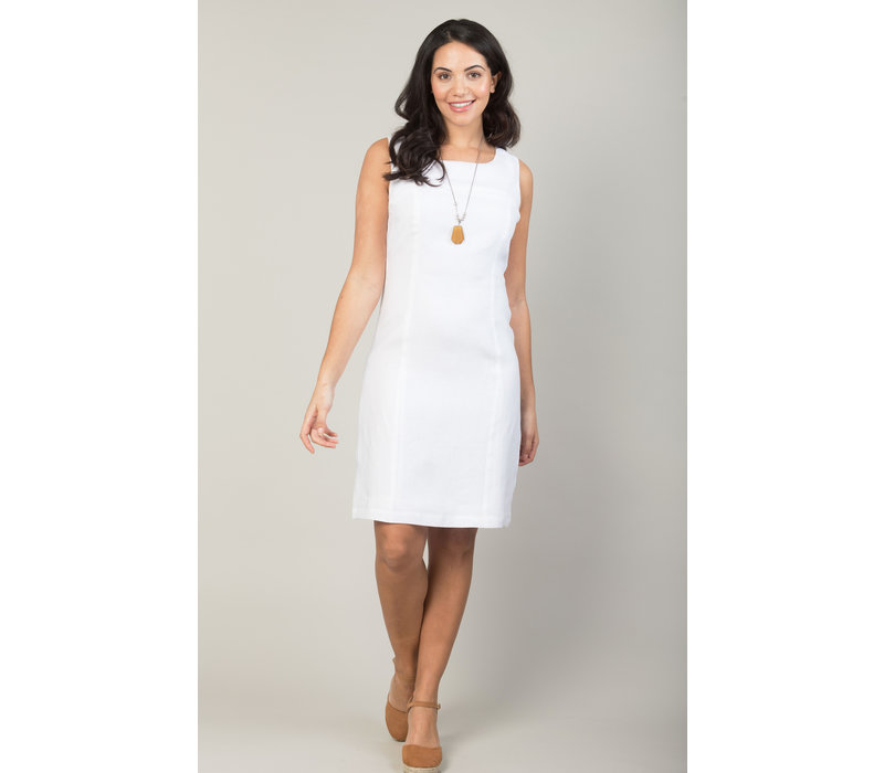 Jaba Nicole Linen Dress in White