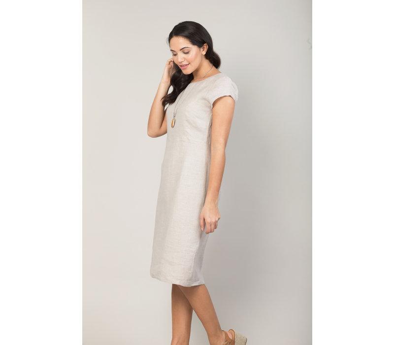 Jaba Long Linen Camile Dress in Stone