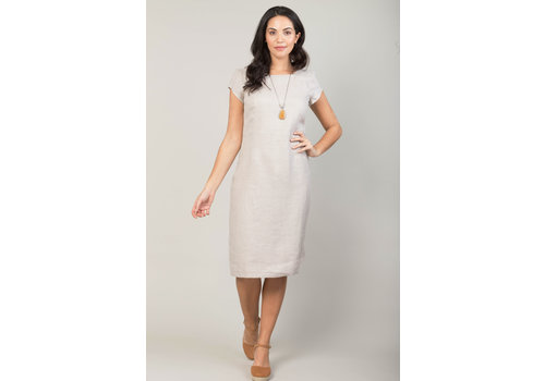 JABA Jaba Long Linen Camile Dress in Stone