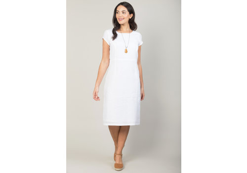 JABA Jaba Long Linen Camile Dress in White