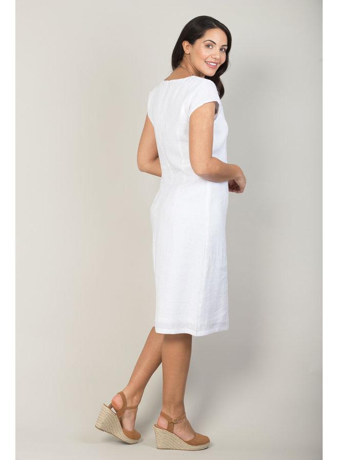 Jaba Long Linen Camile Dress in White