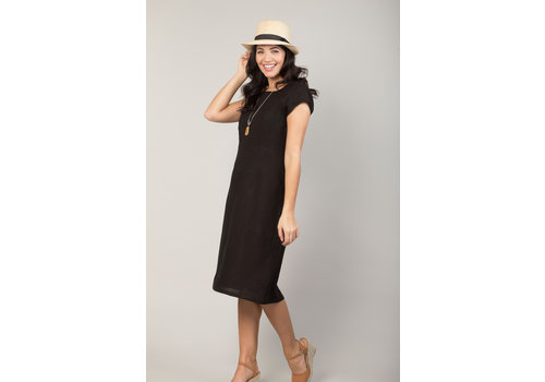 JABA Jaba Long Linen Camile Dress in Black