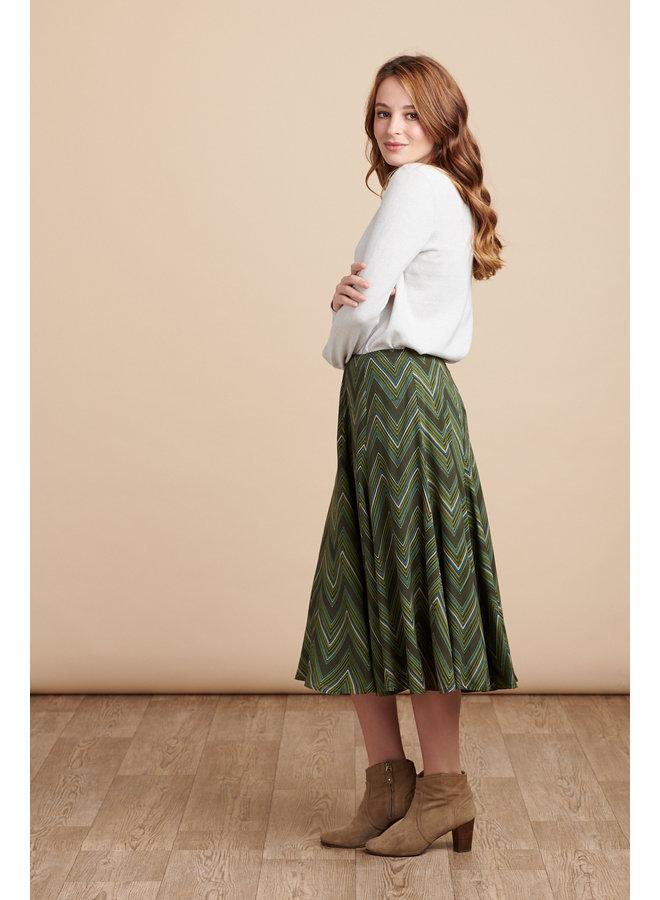 Florence Midi Skirt in Zig Zag Green