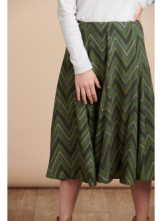 Jaba Florence Skirt in Zig Zag Green