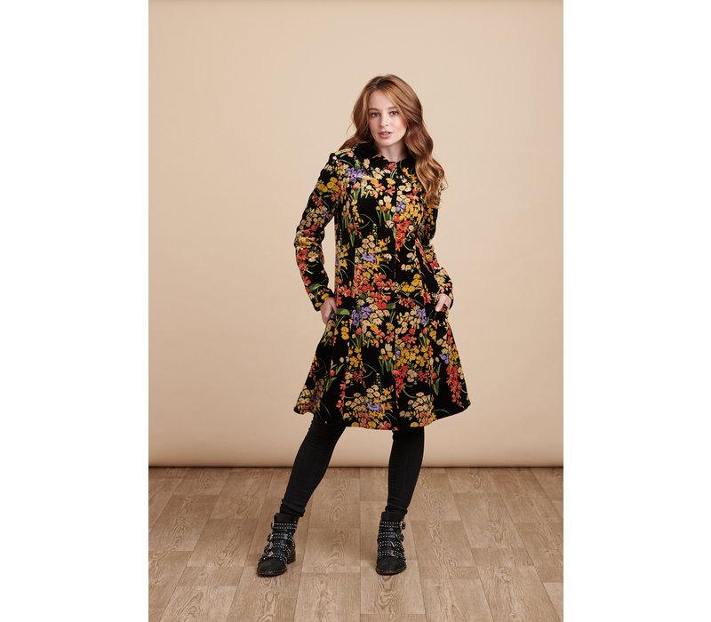 Jaba Velvet Coat in Black Bouquet