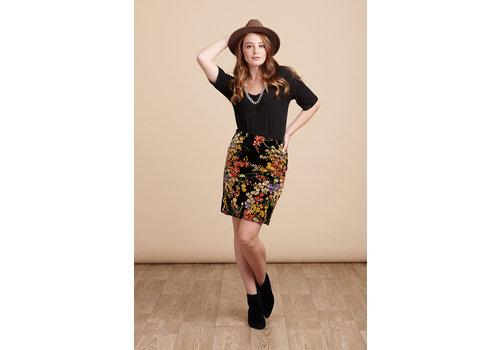 JABA Jaba Velvet Skirt in Black Bouquet