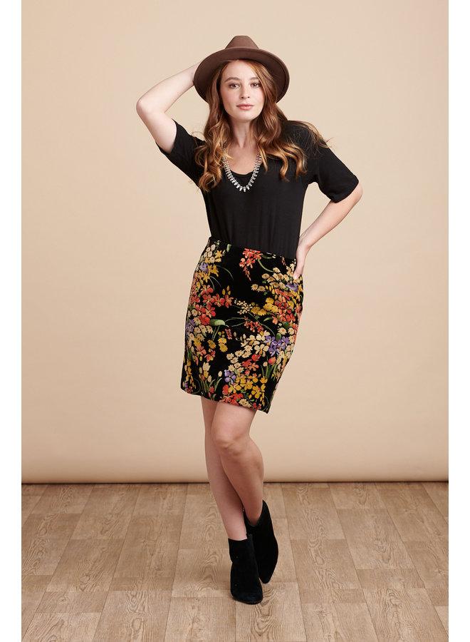 Jaba Velvet Skirt in Black Bouquet