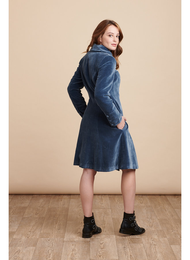Jaba Velvet Coat in Stone Blue Grey