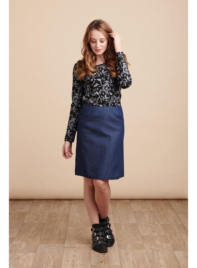 Jaba Lora Skirt in Dark Chambray Denim