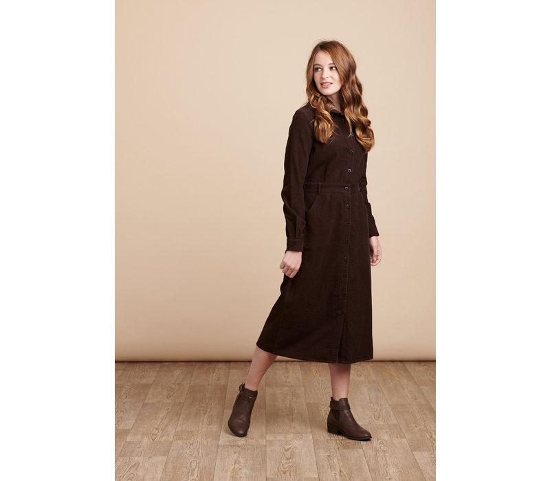 Jaba Erica Dress in Chocolate Cord (longer length)