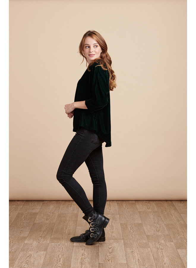 Jaba Edie Velvet Top in Emerald Green