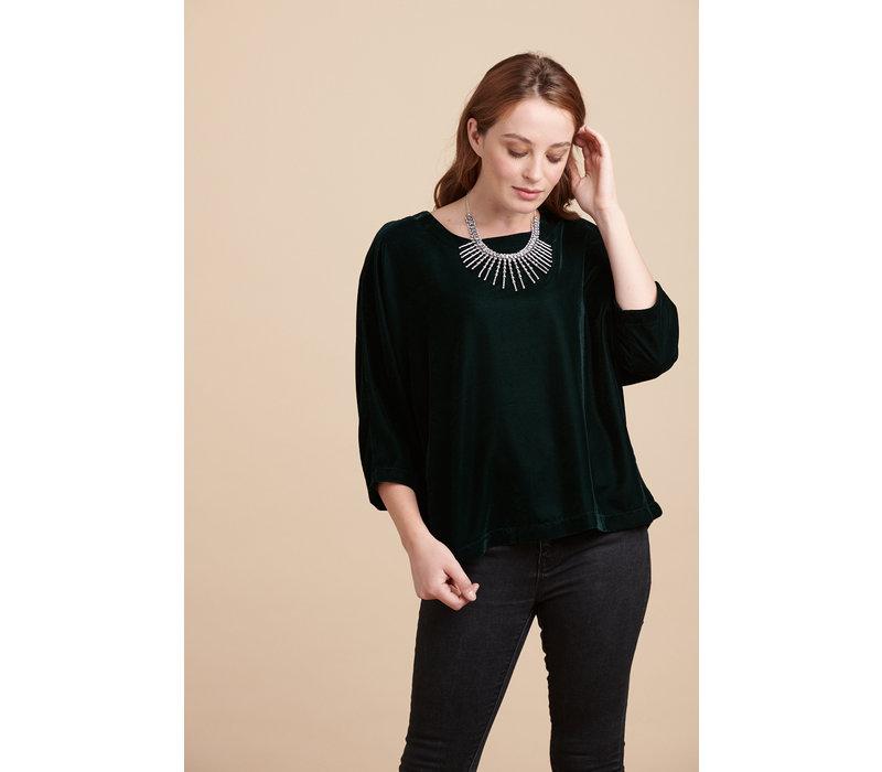 Jaba Edie Velvet Top in Emerald Green