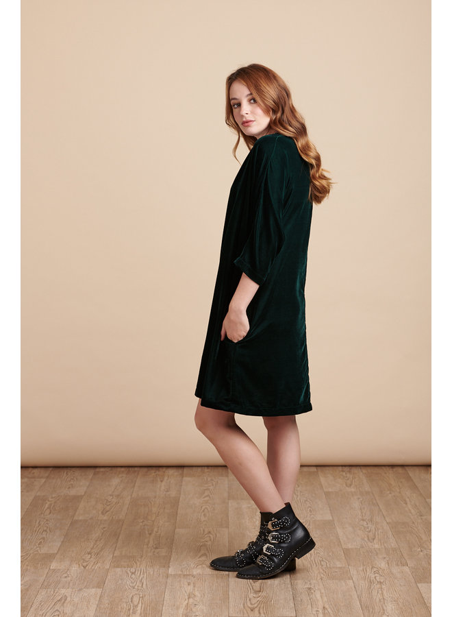 Jaba Etta Velvet Tunic in Emerald Green