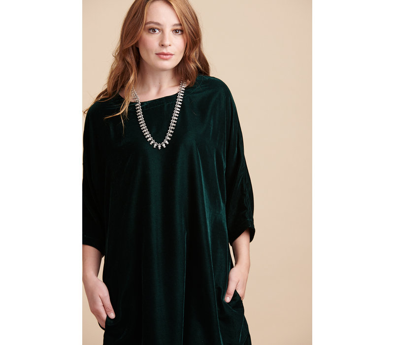 Jaba Etta Velvet Tunic in Emerald Green