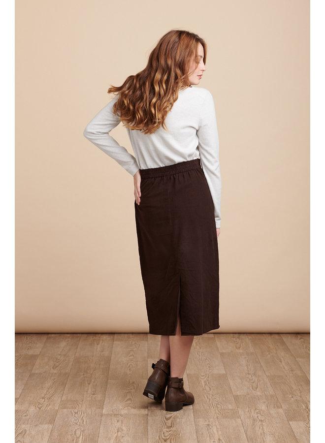 Jaba Rachel Cord Skirt in Chocolate