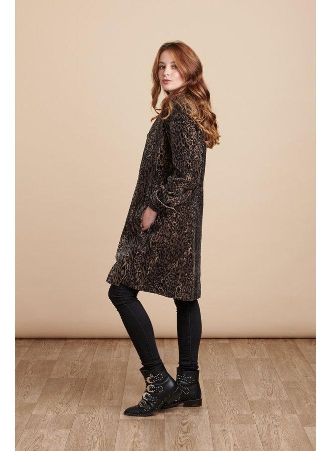 Jaba Velvet Swing Coat in Leopard